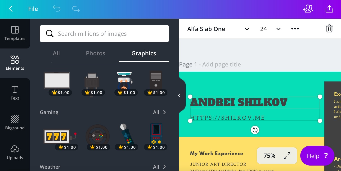 Photos, icons and cliparts for $1
